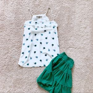 LOFT White Ruffle Blouse with Blue/Green Florals